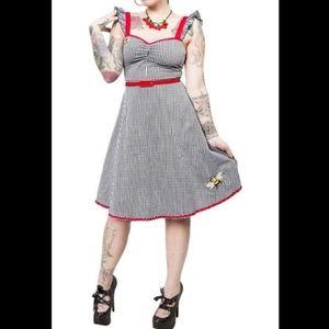 Sourpuss gingham bee mine embroidery dress